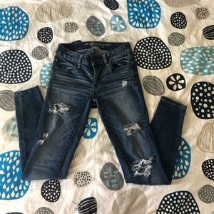 AE blue high rise distressed jeans